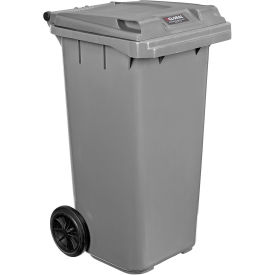 Mobile Trash Container with Lid - 32 Gallon Gray