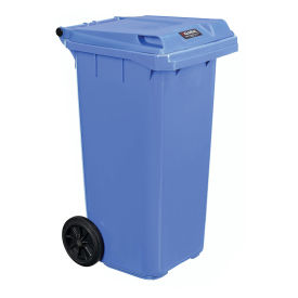Mobile Trash Container with Lid, 32 Gallon, Blue