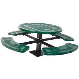 """Single Pedestal 46"""" Round Table, Surface Mount, Perforated 82""""W x 82""""D, Green"""