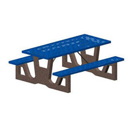 """96"""" Gray Concrete Table Frame, Blue Steel Mesh Seat & Top"""