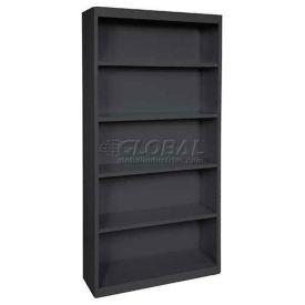 "Steel Bookcase 4-Shelf 46W X 18""D X 72""H-Black"