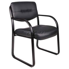 Sled Base Side Chair, Leather, Black