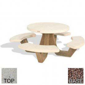 "42"" Concrete Round Picnic Table, Tan River Rock Top, Red Quartzite Leg"