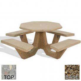 """40"""" Concrete Octagon Picnic Table, Gray Limestone Top, Tan River Rock Leg"""
