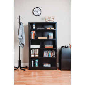 """All Steel Bookcase 36"""" W x 12"""" D x 60"""" H Black 5 Openings"""