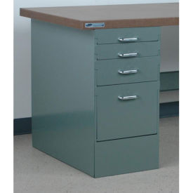 """Stackbin 4 Drawer Pedestal, 15-1/2""""W X 30""""D X 30-1/4""""H, Gray"""