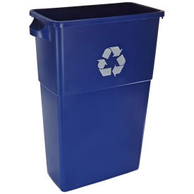 23 Gallon Thin Bin Recycle Container w/Recycle Logo, Blue - Pkg Qty 4