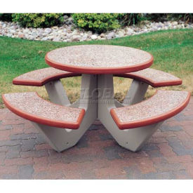 "66"" Concrete Round Picnic Table, Brick Red"