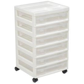 "IRIS 150815 6-Drawer Cart, 14-5/16""x15-7/8""x26-13/16"", White/Clear - Pkg Qty 2"