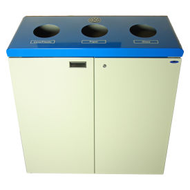 Frost Free Standing 3 Stream Recycling Station, Blue and Gray