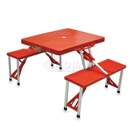 Portable Folding Picnic Table with Seats, Red