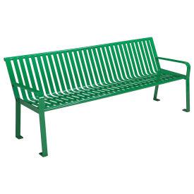 8'Park Bench, Steel Slat , Green