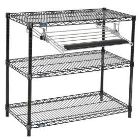 """Black Wire Shelf Printer Stand with Keyboard Tray, 3-Shelf, 36""""W x 18""""D x 34""""H"""