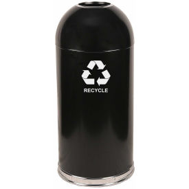 Witt Industries 415DTBK-R Indoor 15 Gallon Steel Recycling Container w/Open Dome Top, Black