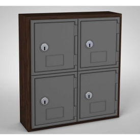 "United Visual Cell Phone Locker, 4 Door, 12"" x 4"" x 13-1/2"", Walnut/Grey"
