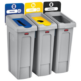 Slim Jim Recycling Station, Landfill/Paper/Bottles & Cans, (3) 23 Gallon