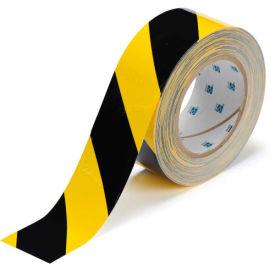 "Brady ToughStripe Floor Marking Tape, Polyester, 2""W X 100'L, Black/Yellow, 104317"