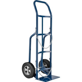 """Single Cylinder Hand Truck with Curved Handle, 10"""" Semi-Pneumatic Wheels, 800 Lb. Cap, 47""""H"""